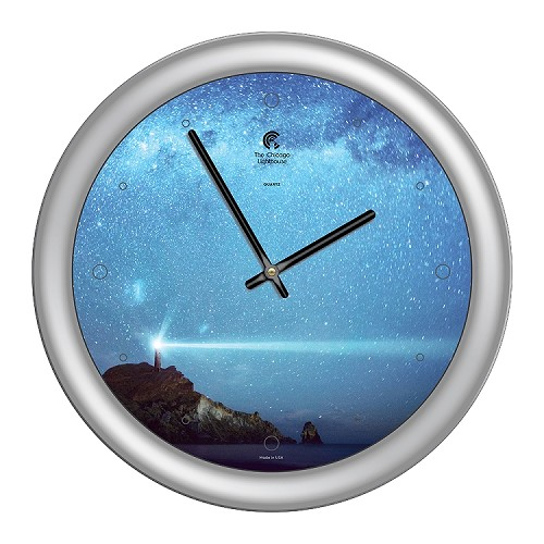 Chicago Lighthouse | - Milky Way Lighthouse 14 inch decorative wall clock