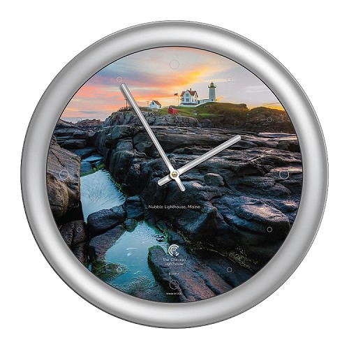 Chicago Lighthouse | - Nubble Lighthouse 14 inch decorative wall clock