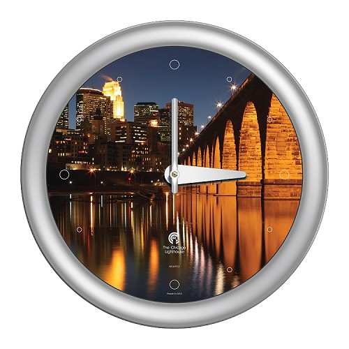Chicago Lighthouse | Minneapolis - 3rd St. Bridge  14 inch decorative wall clock