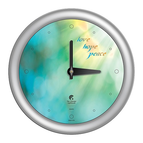 Chicago Lighthouse | Peace  14 inch decorative wall clock | Color: Aqua Sunlight