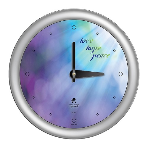 Chicago Lighthouse | Peace 14 inch decorative wall clock | Color: Lavender Sunlight