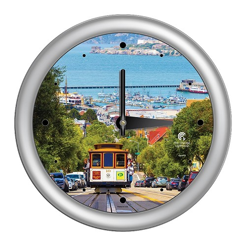 Chicago Lighthouse | San Francisco - Cable Car  14 inch decorative wall clock