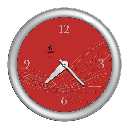 Chicago Lighthouse | Vines & Dots 14 inch decorative wall clock | Caliente Dial; Silver Accent