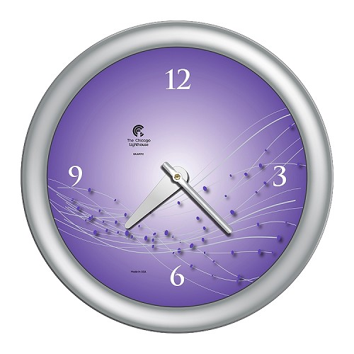 Chicago Lighthouse | Vines & Dots 14 inch decorative wall clock | Ultra Violot