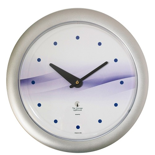 Chicago Lighthouse | Waves  14 inch decorative wall clock | Splash of Purple, Designer Silver Frame