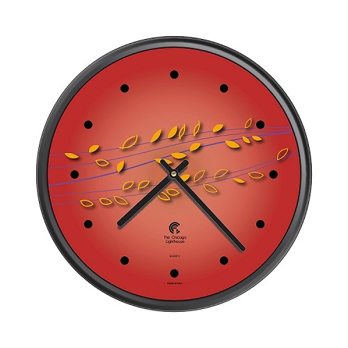 Chicago Lighthouse | Basil & Berries  12.75 inch decorative wall clock | Color: Caliente