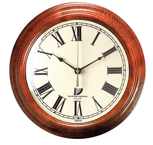 "16"" Mahogany Clock with Off White Dial and Roman Numerals"