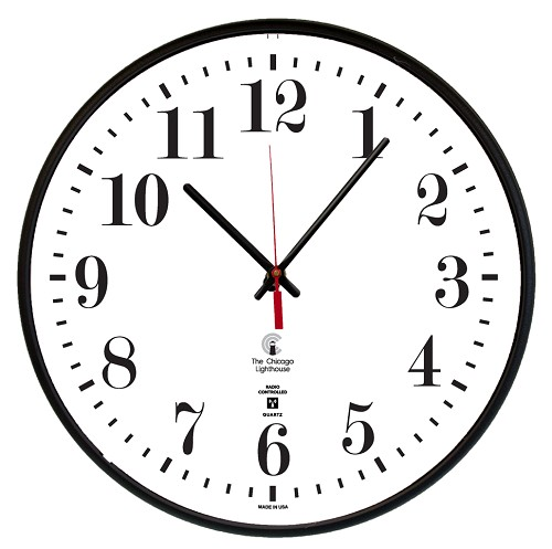 "Atomic Movement Commercial/Residential  Wall Clock | 12.75"" Black  Slimline Body"