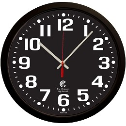 "16.5"" High Contrast Black Dial Wall Clock in a Black Contemporary Frame"